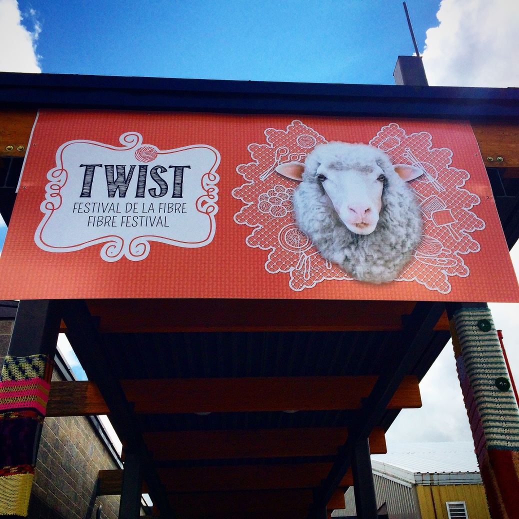 The sign above the entrance to the Twist fiber festival 2014