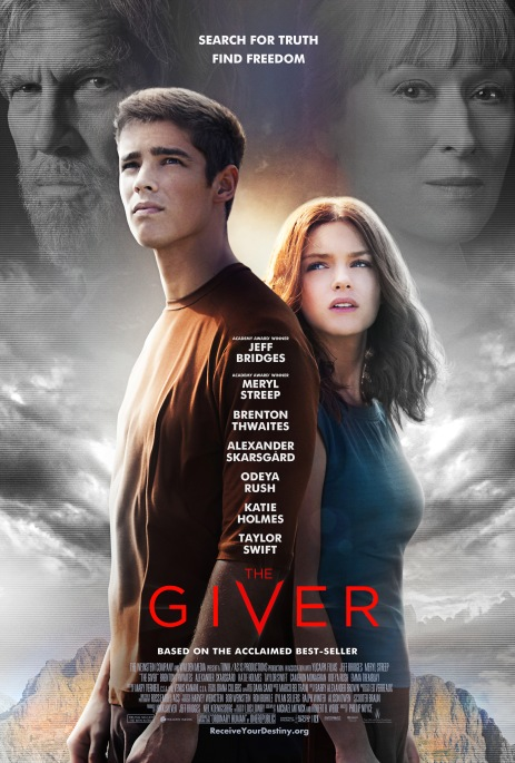 Poster for The Giver. Movie adapted from the book 2014.
